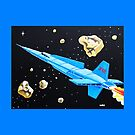 'X- 12 SPACE ROCKET'  THROW PILLOW by ward-art-studio