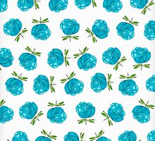 Blue Roses in Rows by House of  Jennifer