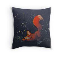 Firefly Fox - Red Throw Pillow