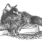 Black cat on a handbag drawing by Mike Theuer