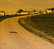 A road, a village and a sunset | landscape photography Sticker