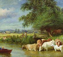 A Midsummer's Day on the Thames by Bridgeman Art Library