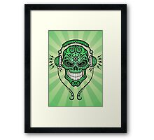 Green DJ Sugar Skull Framed Print