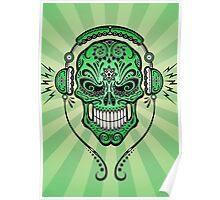Green DJ Sugar Skull Poster
