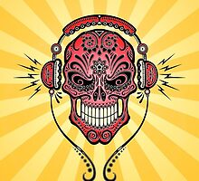 Red and Yellow DJ Sugar Skull by Jeff Bartels