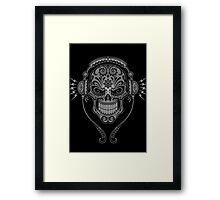 Gray and Black DJ Sugar Skull Framed Print