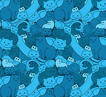 Purrrfect Pattern (Blue) by helenasia