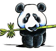 Panda with Bamboo by offleashart