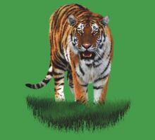 Tiger on Green Kids Clothes