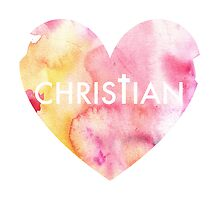 Christian Watercolor Heart Pillow by kissdesigns