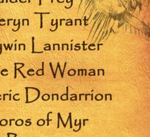 The Death List of Arya Stark Sticker