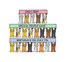 Cartoon cats celebrating July 7th Birthday. Photographic Print