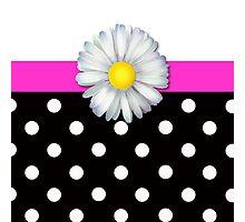 Girly daisy pink polka dot ipad case Photographic Print