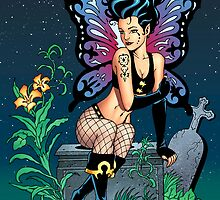 Gothic Fairy Grave Sitting with Tears by Al Rio by alrioart