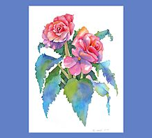Roseform Begonia Watercolor Throw Pillow (Medium Blue Border) by Pat Yager