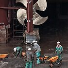 Four workers and a propeller by awefaul