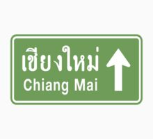 Chiang Mai, Thailand Ahead ⚠ Thai Highway Sign ⚠ by iloveisaan