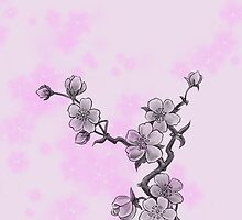 Cherry Blossom, Sakura Flowers - Pink Gray  by sitnica