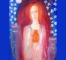 lady with pots (throw pillow on blue) by catherine walker