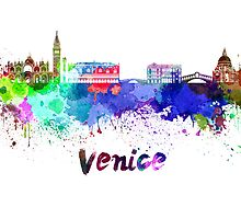Venice skyline in watercolor by paulrommer
