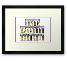 Cats celebrating a birthday on August 17th. Framed Print