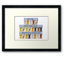 Cats celebrating a birthday on August 22nd. Framed Print