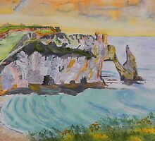 Normandy Beach at Etretat by Warren  Thompson