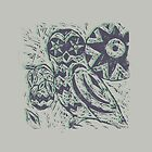 Owl wood cut print purple green offset by stannardart