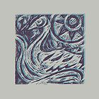 Swan wood cut print purple blue offset by stannardart