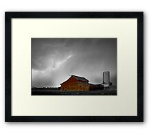 Watching The Storm From The Farm BWSC Framed Print