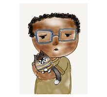 Little African boy and cat, art print by Beatrice  Ajayi