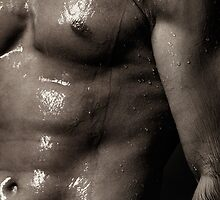 Man bare torso wet under shower art photo print by ArtNudePhotos