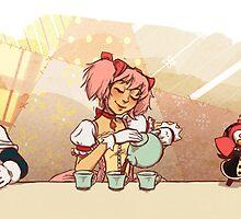 Puella Magi Holy Quintet Tea Party by paigeonecomics
