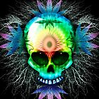 Marijuana Psychedelic Skull by BluedarkArt