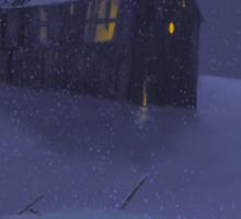 Snowy Barn Sticker