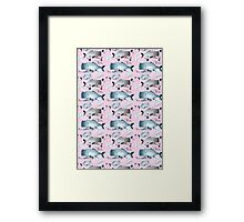 pattern whales and jellyfish Framed Print