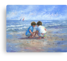 Finding Sea Shells Brother and Sister Canvas Print