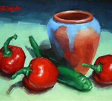 Chilli Peppers And Pot by Margaret Stockdale