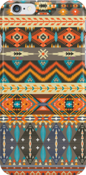 Colorful  tribal pattern with geometric elements by tomuato