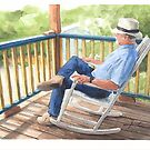 Man on the porch watercolor by Mike Theuer