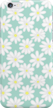 Bright Happy Daisies on Mint by Perrin Le Feuvre