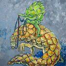 Artichoke riding pangolin by Ellen Marcus