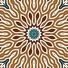 Brown Green Kaleidoscope Print Pillow by red addiction