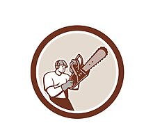 Lumberjack Tree Surgeon Arborist Chainsaw Circle Retro by patrimonio