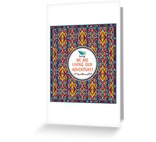 Hipster seamless aztec pattern with geometric elements and typographic text Greeting Card