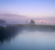 Moon over Goosey Bridge Olney  UK by James  Key