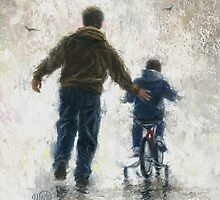 FIRST BIKE RIDE DAD AND SON by VickieWade