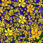 Orange & Yellow Flowers on Blue Background by Gravityx9
