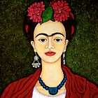 Frida portrait with dalias throw pillow or tote bag by Madalena Lobao-Tello
