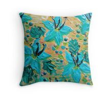 BLOOMING BEAUTIFUL - Modern Abstract Acrylic Tropical Floral Painting, Home Decor Gift for Her Throw Pillow